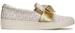 aa4723e8a53 MICHAEL Michael Kors Bow-embellished Printed Textured-leather Slip-on  Sneakers