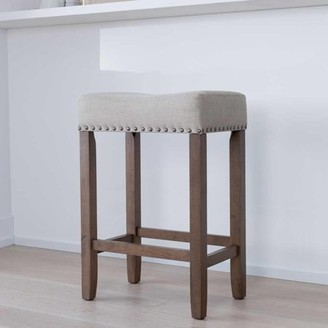"""BEIGE Nathan James Hylie Wood Kitchen Counter Stool, 24"""" Pale Upholstered Fabric Cushion, Light Brown Finish"""
