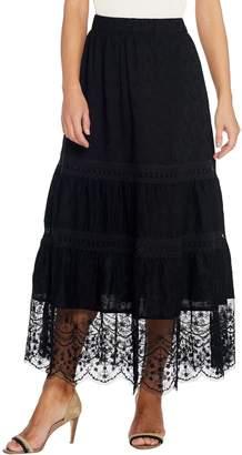 Susan Graver Cotton Lawn Tiered Maxi Skirt