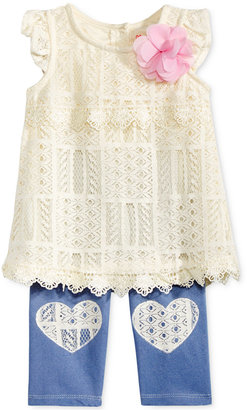 Nannette 2-Pc. Lace Tunic & Denim Capri Leggings Set, Baby Girls (0-24 months) $34 thestylecure.com