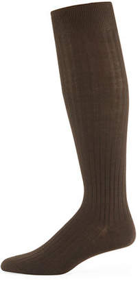 Neiman Marcus Over-the-Calf Ribbed Socks