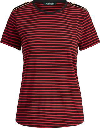 Ralph Lauren Velvet-Epaulet Cotton T-Shirt