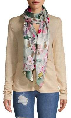 Vince Camuto Floral Oblong Silk Scarf