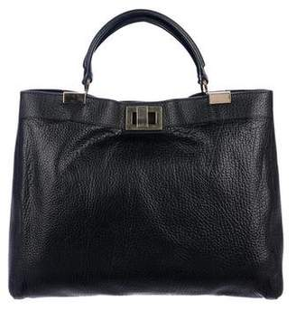 Rochas Leather Turn-Lock Satchel