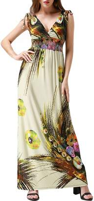 Wantdo Women's Boho Maxi Dress Floral Printing Long Summer Dress Plus Size