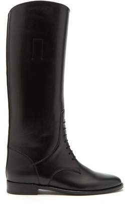 Saint Laurent Mathilde Knee High Leather Riding Boots - Womens - Black