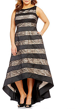 Adrianna PapellAdrianna Papell Plus Striped Lace Hi-Low Dress