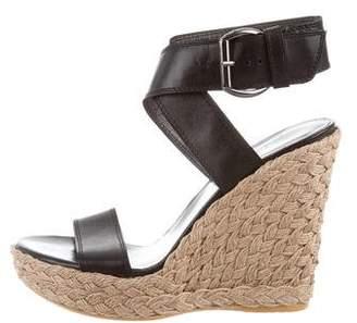 Stuart Weitzman Leather Ankle Strap Wedges