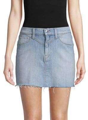 Hudson Frayed Hem Denim Mini-Skirt