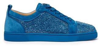 Christian Louboutin - Louis Junior Spike Embellished Suede Trainers - Mens - Blue