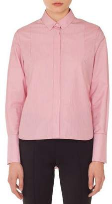Akris Punto Detachable-Collar Long-Sleeve Striped Cotton Blouse