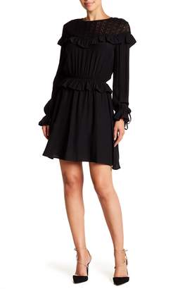 Moon River Lace Paneled Long Sleeve Ruffle Dress