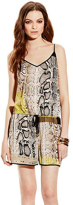 Vince Camuto Neo Snake Tie-Waist Romper