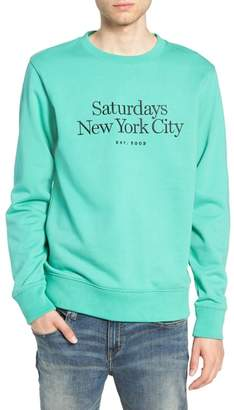 Saturdays NYC Bowery Embroidered Fleece Sweatshirt