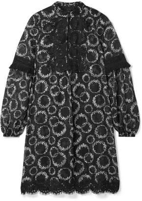 Anna Sui Daisy Chain Crochet-trimmed Floral-print Chiffon Mini Dress - Black