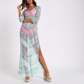 River Island Blue embroidered lace maxi beach cover up