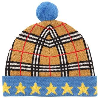 Burberry Knit Cashmere Check Hat