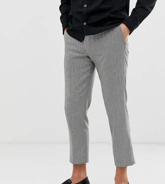 Noak slim fit cropped pants in black and white herringbone