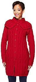 Aran Craft Merino Wool Long Cardiganwith Capelet