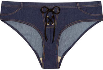 L'Agent by Agent Provocateur Sophiia Lace-up Bikini Briefs - Mid denim
