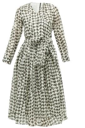Sara Lanzi Houndstooth Print Cotton Blend Midi Dress - Womens - Black White