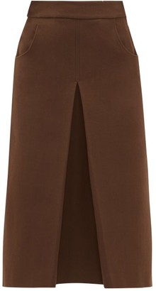 Françoise Francoise - Pleated Cotton Blend Crepe Midi Skirt - Womens - Brown