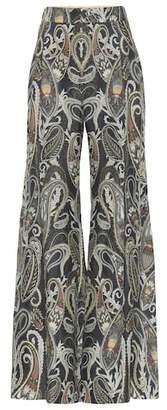 Chloé High-rise flared silk-blend pants