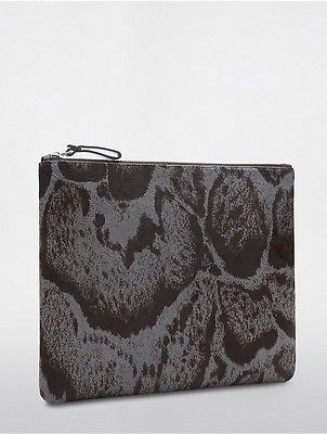 Calvin KleinCalvin Klein Womens Platinum Haircalf Extra Large Pouch Abyss/Black