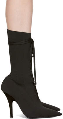 Yeezy Black Knit Lace-Up Ankle Boots