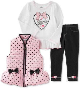 Kids Headquarters Baby Girls' 3-Pc. Puffer Vest, Top & Leggings Set $50 thestylecure.com