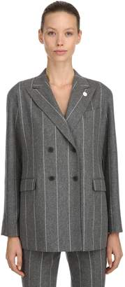 Lardini Double Breasted Wool Pinstripe Jacket