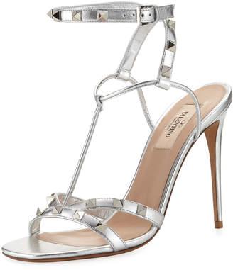 Valentino Rockstud Metallic T-Strap Sandal