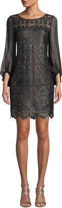 Elie Tahari Merida 3/4-Sleeve Lace Dress