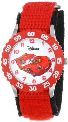 "Disney Kids' W001003 ""Time Teacher"" Lightning McQueen Stainless Steel Watch with Red Nylon Strap"