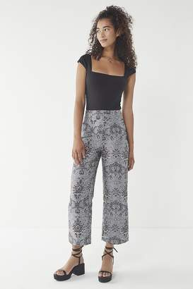 Urban Outfitters Juliet Cropped Jacquard Pant