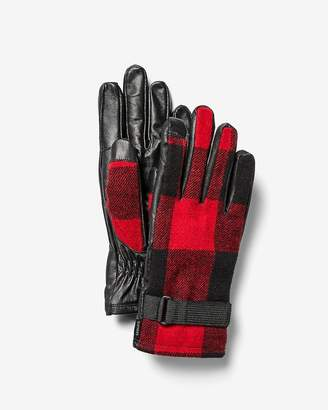 Express Mixed Media Check Gloves