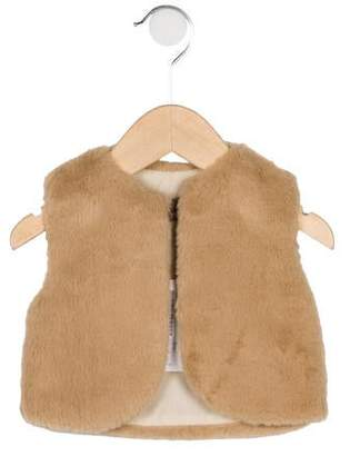 Emile et Ida Girls' Faux Fur Collarless Best w/ Tags