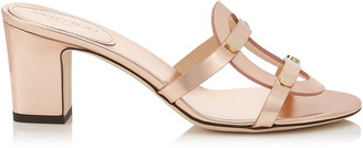 Jimmy Choo DAMARIS 65 Tea Rose Metallic Leather Sandals with Gold Studs