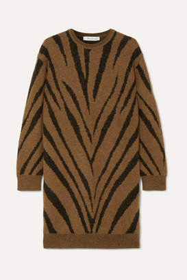 Max Mara Austin Zebra Intarsia-knit Mini Dress - Tan