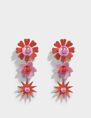 Kenzo Flowers Earrings in Flamingo Pink Metal and Plexi Flowers