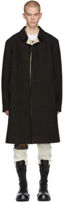 Raf Simons Black and Brown Check Classic Coat
