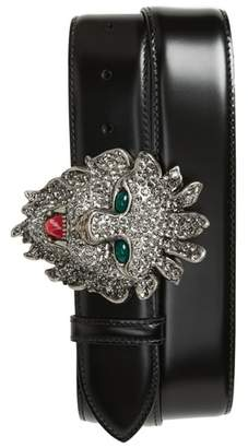 Gucci Large Lion Head Leather Belt