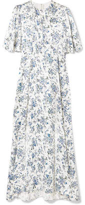 Les Rêveries - Floral-print Silk-satin Maxi Dress - Blue