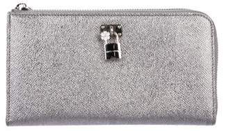 Dolce & Gabbana Leather Padlock Zip Around Wallet