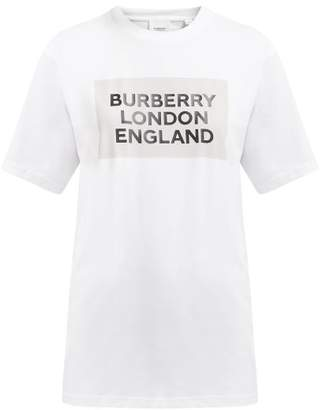 Burberry Logo Print Cotton Blend T Shirt - Womens - White Multi