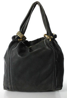 Jimmy Choo Jimmy Choo Gray Leather Gold Tone Charm Saba Hobo Shoulder Handbag