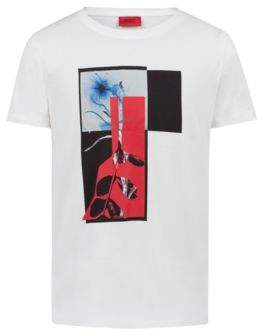 HUGO Boss Relaxed-fit T-shirt in cotton abstract print L Natural