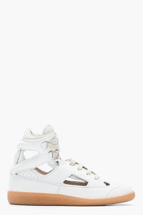 Maison Martin Margiela White Nubuck Cut-Out Sneakers