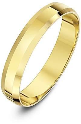 Theia Unisex 9ct White Gold Super Heavy Flat Shape Bevelled Edge Polished 4mm Wedding Ring - Size Q