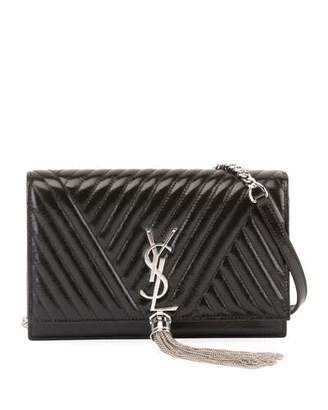 Saint Laurent Kate Monogram Shiny Quilted Wallet on Chain